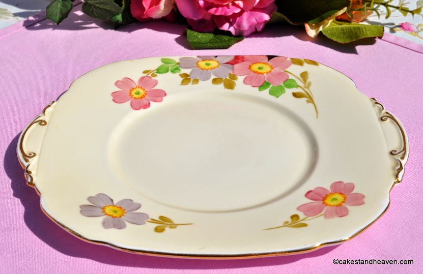 Roslyn China hand painted cake plate