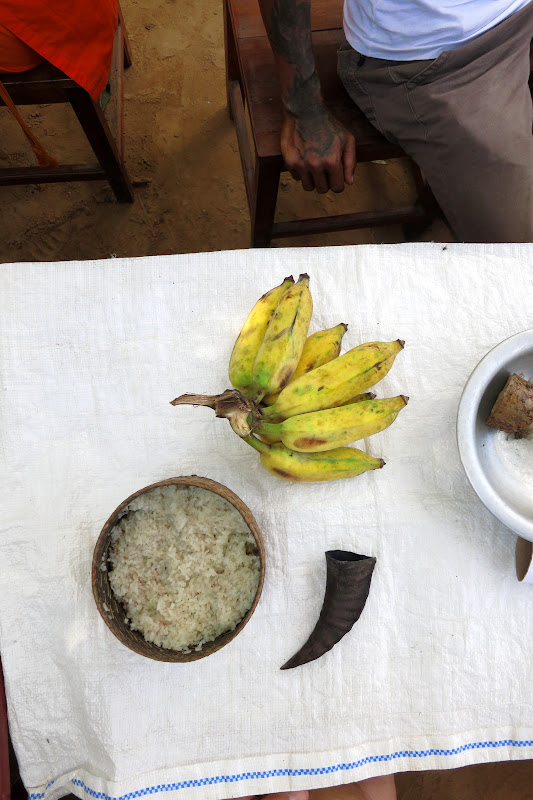 Goat horn, bananas and sticky rice on the table