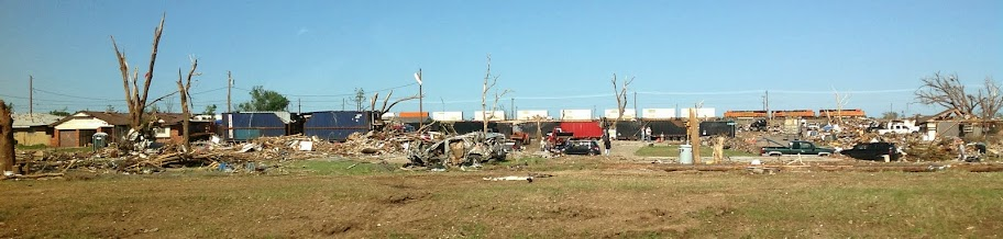 Moore tornado damage along I-35