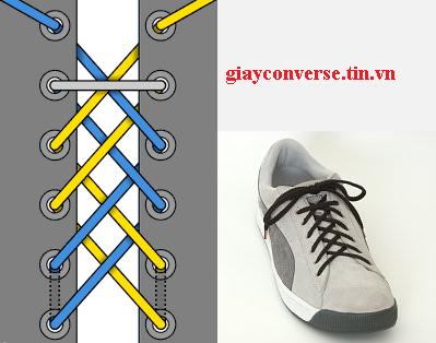 Cách buộc dây giày Converse kiểu Double Black