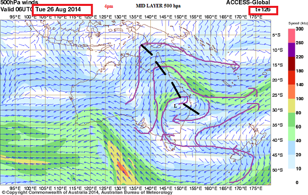 26th Aug 2014 mid layer 500 hpa trough