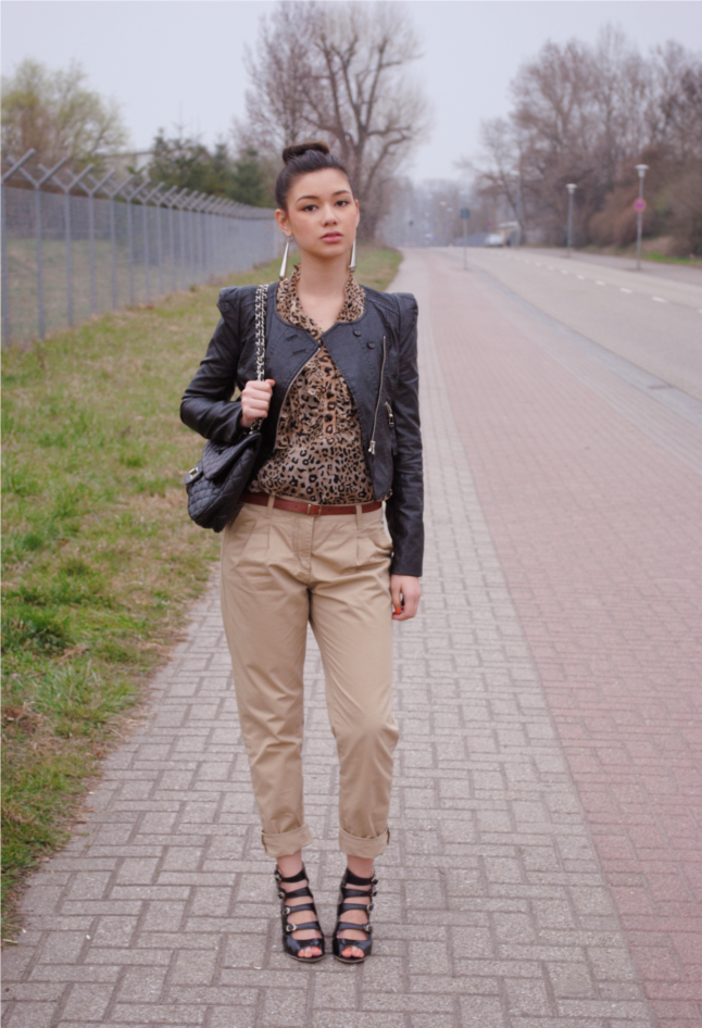 Leather Jacket, Arafeel, PU Leather, Only Taylor Chino Pants, Only, Chino Pants, Arafeel Bag, Quilted Bag, Leopard Blouse