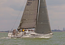 J/111 sailing upwind on Solent off Cowes, England