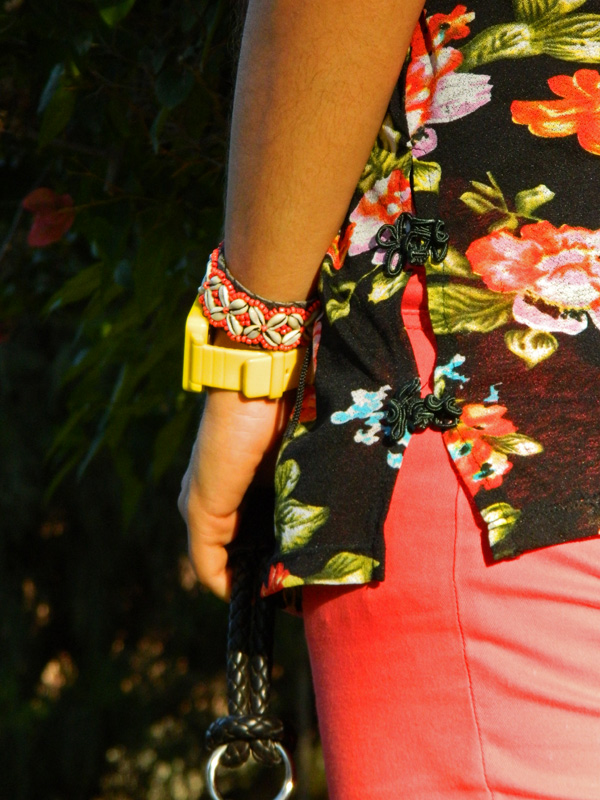 Floral Printed Top and Red Pants