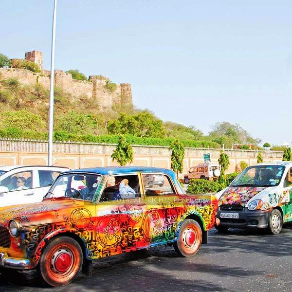 A car rally at Rang Malhar, organised by the Lalit Kala Akademi, held in Jaipur.