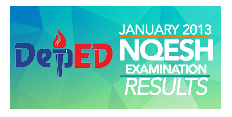 DepED January 2013 NQESH Exam Results Top 10 Passers    2013 NQESH Exam