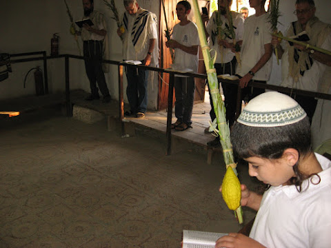 Celebrating Hoshana Rabbah in the Shalom al Israel Synagogue in Jericho