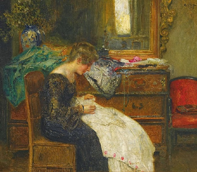 Eduard Veith - Young lady by the hand work