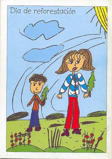 Contraportada Revista Pancrudo nº5 (2001). Dibujo Día de Reforestación, de Andrea Tolosa Cotoré (8 años)