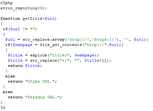 Funkce na zjištění titulku webové stránky