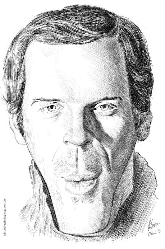 Caricature of Damian Lewis, using Krita.
