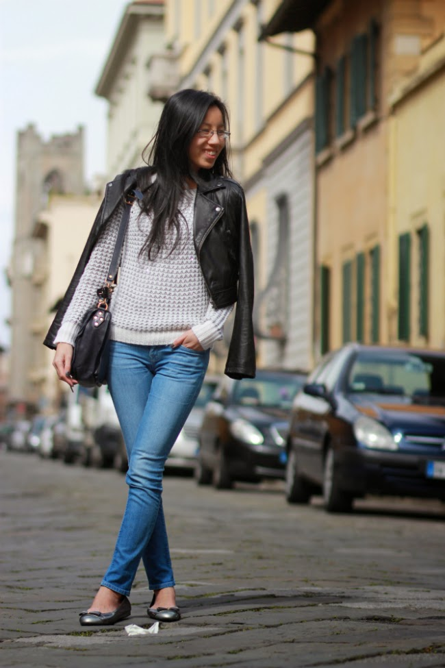 metallic sweater cropped leather jacket jeans