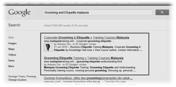 MalaysiaTraining.net on 1st page of Goole search result
