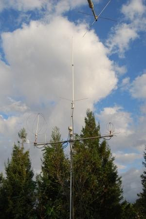 The KE6GLA station antenna in El Dorado                       Hills, California. M2 EB-144 Eggbeater at 30 feet                       with 6 dBi theoretical gain. Effective isotropic                       radiated power: 32 watts (45 dBm).