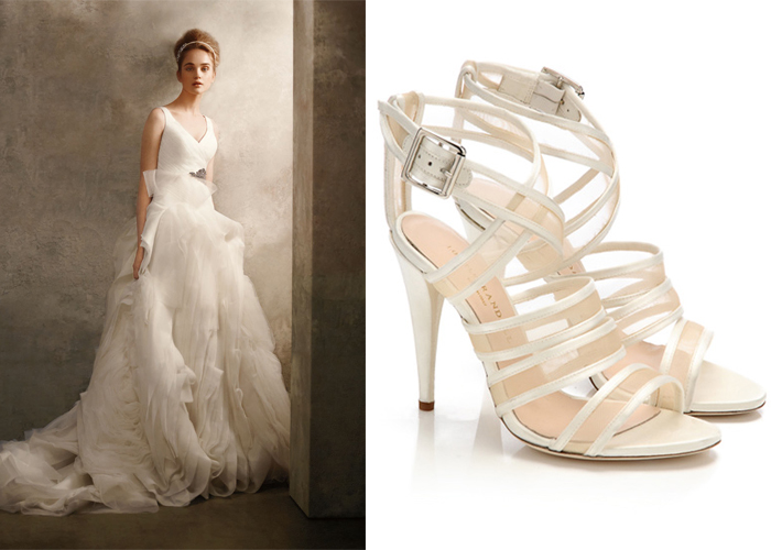 3b8065a0a9e0 White by Vera Wang Gown and Loeffler Randall Bridal Shoes