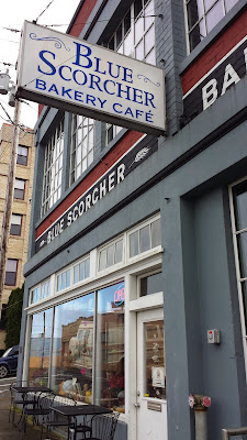 exterior of Blue Scorcher Bakery Cafe in Astoria