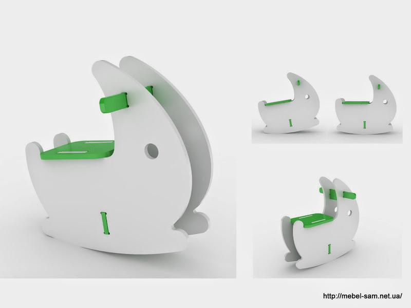 Модель игрушки качалки из фанеры в виде кролика
