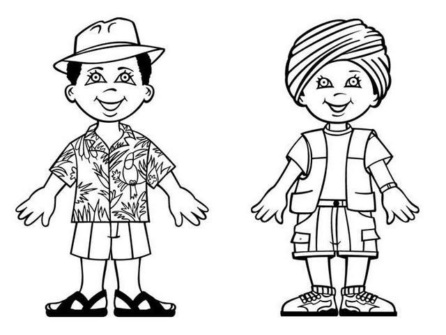 Meninos E Meninas De Nacionalidades Diferentes Childre: Niños De Diferentes Nacionalidades Para Colorear