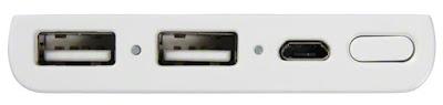 サイクルエナジー CP-F2LSAVPの側面:給電用USBが2ポート、充電用microUSBが1ポート