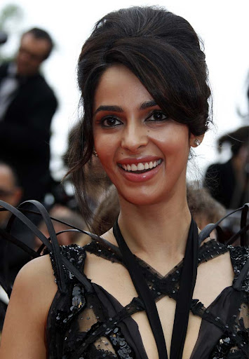 Mallika Sherawat in a Designer Wear Black Dress at Cannes