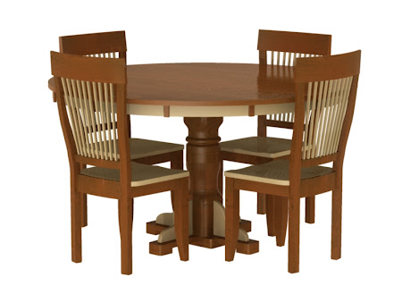 "60"" Diameter Riverside Table and Harvest Chairs in Mixed Wood"