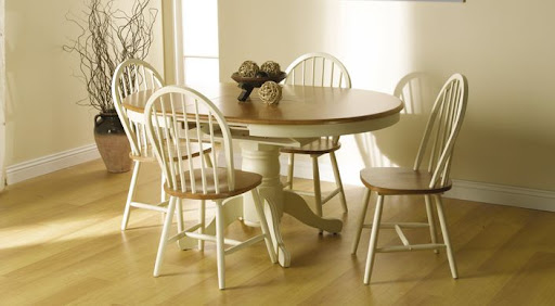 cream shabby chic round extending dining table 4 chairs ebay