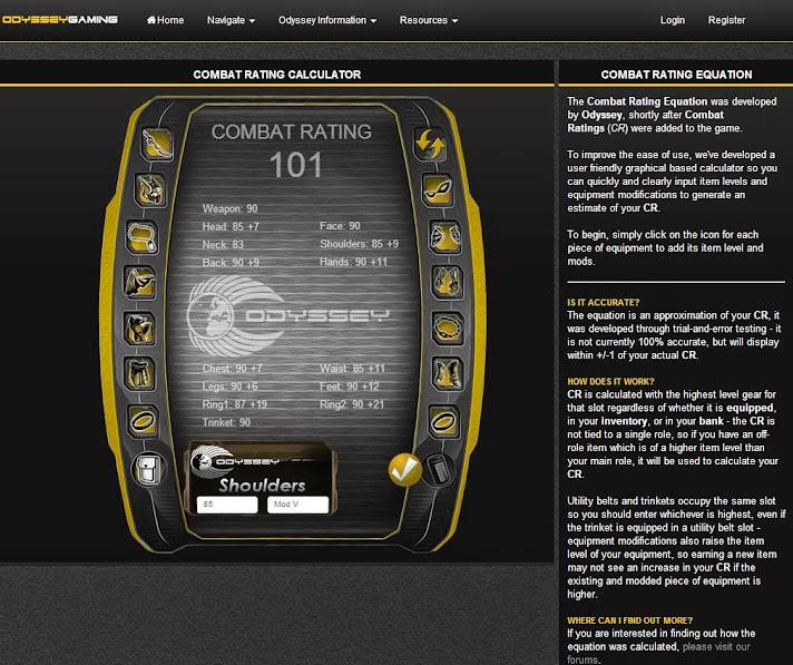 Odyssey CR Calculator