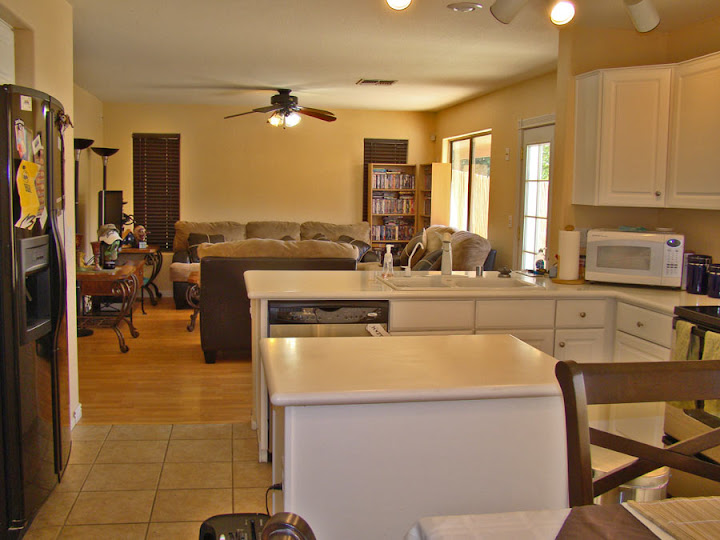 View from kitchen and family room of Litchfield home for sale