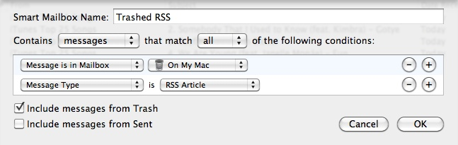 Trashed RSS feeds