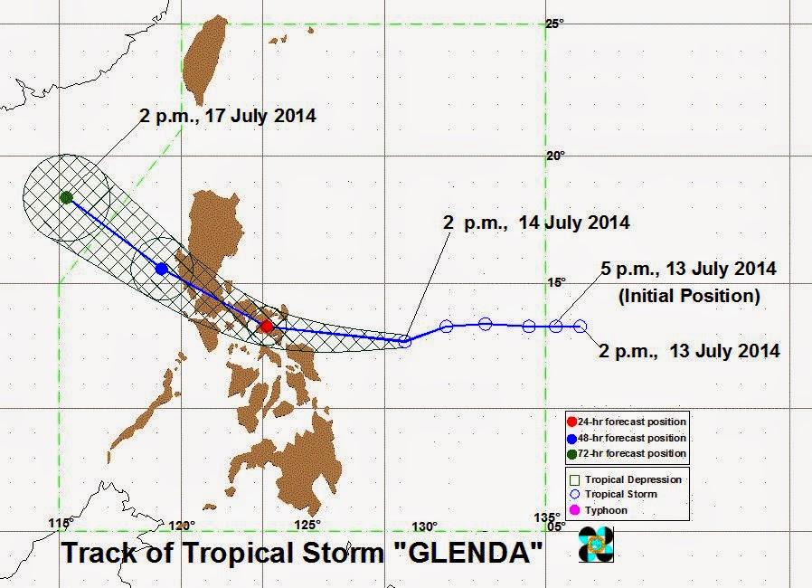 track of tropical storm glenda