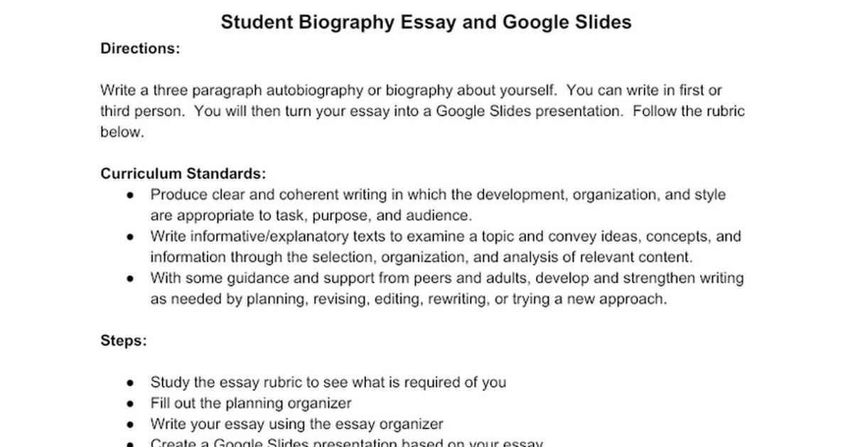 student biography essay google docs
