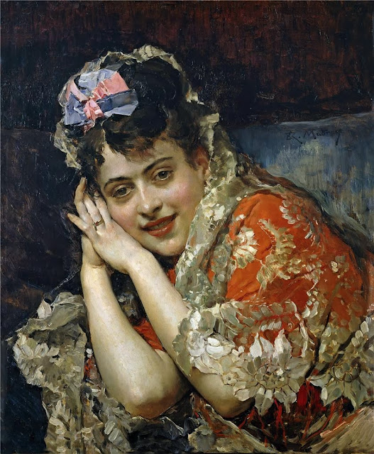 Raimundo Madrazo - Aline Masson with a White Mantilla
