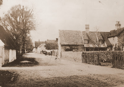High Street, Little Shelford with Hall Farm on left and Ben Lister's house on the right