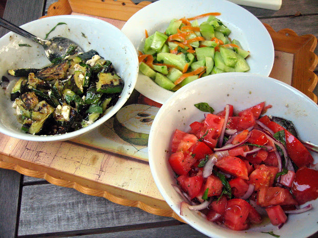 Summer Salads: Grilled Zucchini and Onion with Feta and Basil, Cucumber and Carrot, and Tomato and Red Onion
