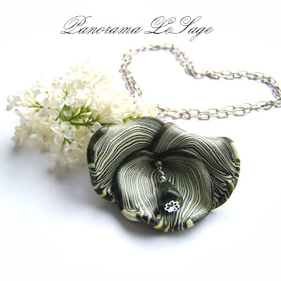 wisior fimo masa polimerowa modelina Panorama LeSage kwiat naszyjnik wisior elegancki