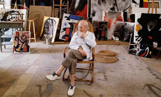 Joan Miro in his studio at home in Palma de Mallorca, c 1977