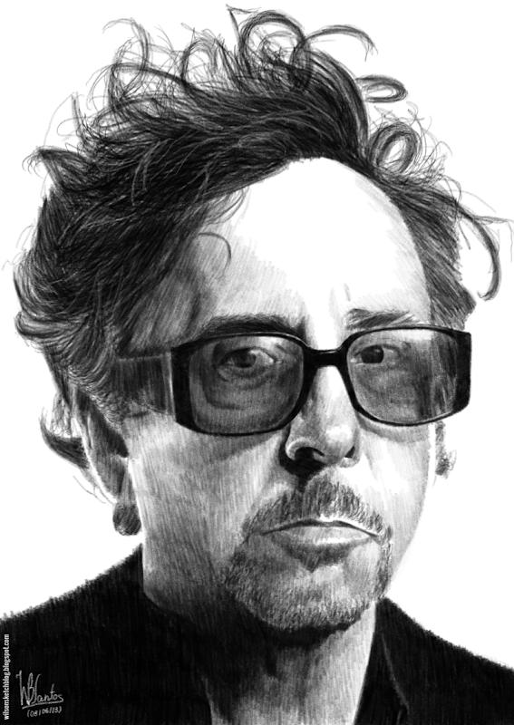 Pencil drawing of Tim Burton, using Krita 2.7 Alpha.