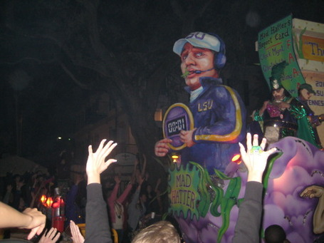 Les Miles as a Mardi Gras float? Les Miles as a Mardi Gras float