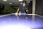 Jordan wouldn't believe me when I said there was airhockey in the venue...I demolished Phillip and Aden