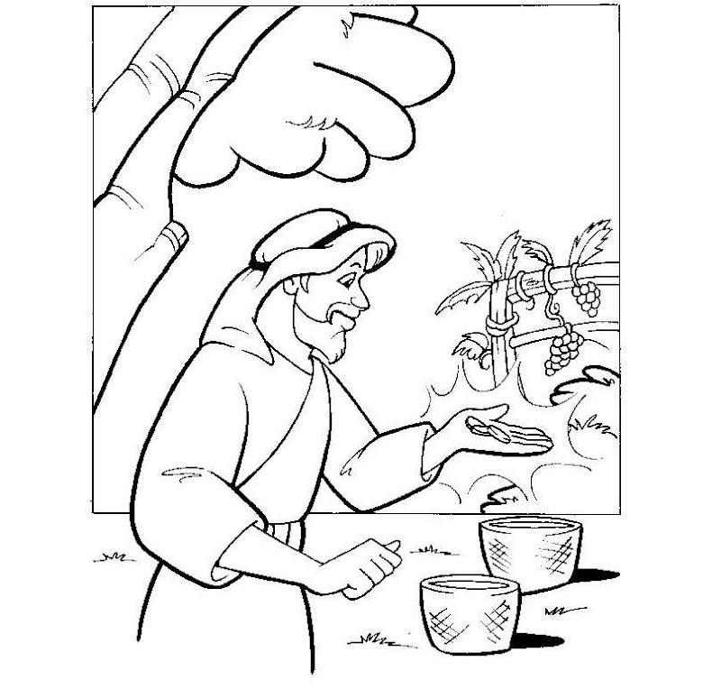 Parábola de los obreros de la viña para colorear