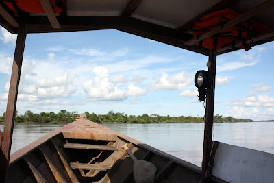 Boat on the Madre de Dios River in Tambopata Peru