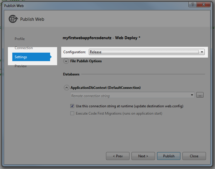Release config select in publish dialog