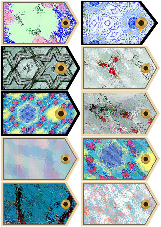Artbyjean Paper Crafts Sheet Of 10 Scrapbook Tags Blue Gray