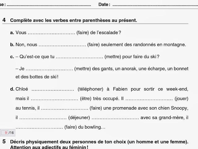 the puchero blog ejercicios franc s 1 eso el 5 y el 4 ForEn Y Frances Ejercicios