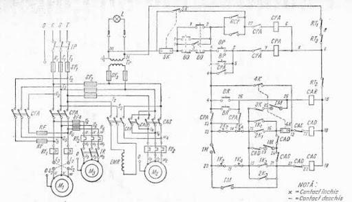 schema electrica a masinei de frezat universalt tip fu