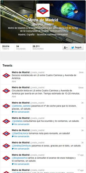 Metro de Madrid supera los 41.700 seguidores en las redes sociales