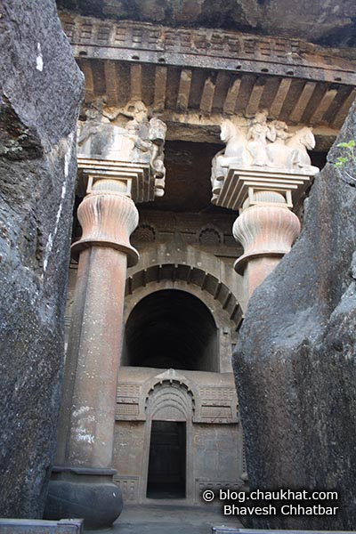 The entrance to the Chaitya [main hall] of Bedse Caves