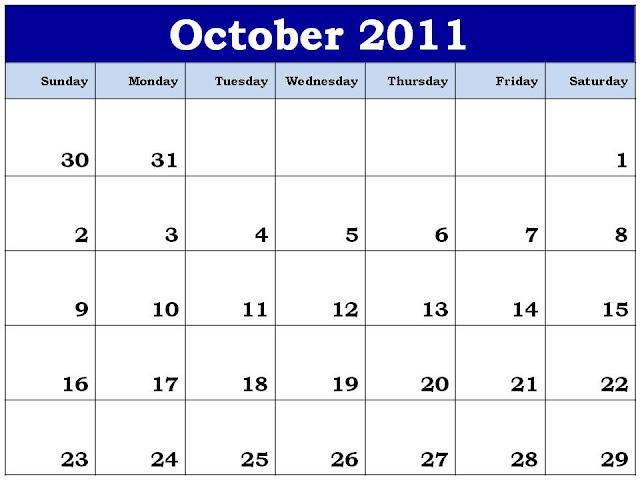 october 2011 calendar. Planner 2011 October Calendar