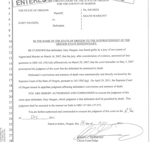 Gary Haugen Death Warrant