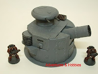 Heavy cannon turret with pop-up twin blasters Military Science Fiction war game terrain and scenery - UniversalTerrain.com